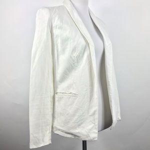 Michael Kors Women's White Linen Open Front Blazer